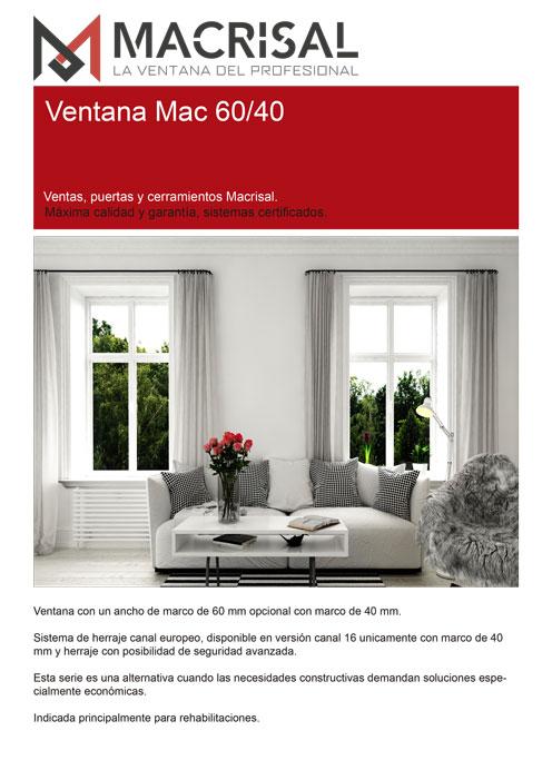 Ficha Técnica Ventana Oscilobatiente 60/40 MAC
